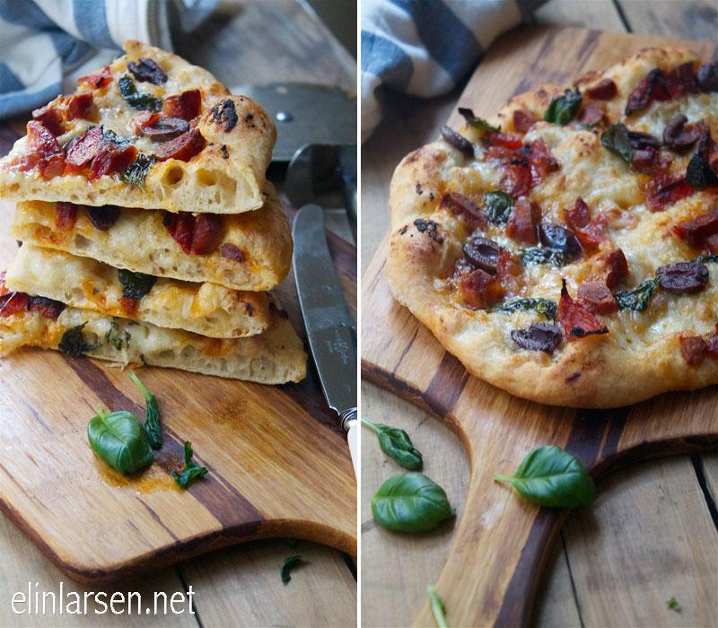 Eltefri pzza med confit hvitløk og stekt chorizo
