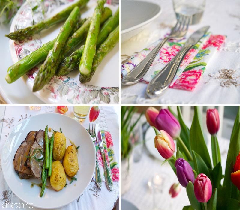 Lammestek med hasselback-poteter, asparges og sjy