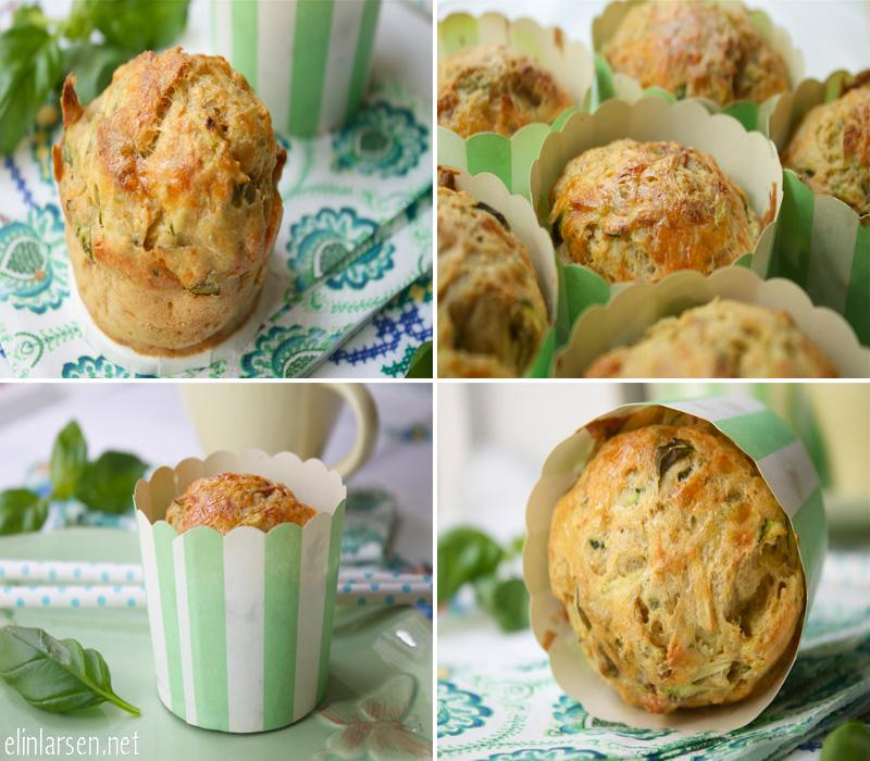 Matmuffins med cheddar, seranoskinke, basilikum og squash