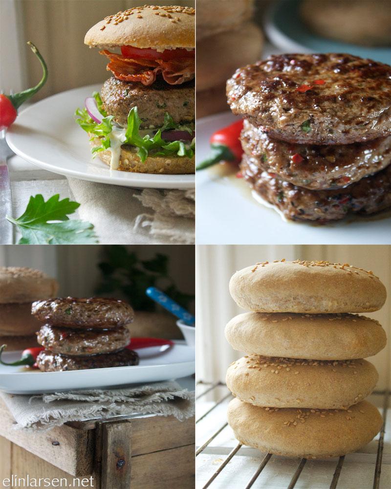 Grove luftige hamburgerbrød