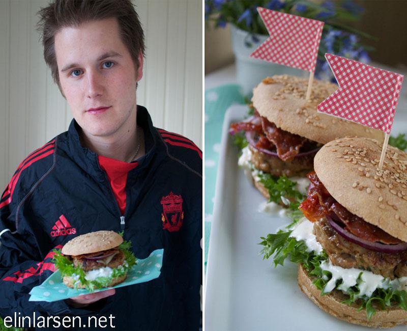 Kyllingburger med hjemmelagde hamburgerbrød