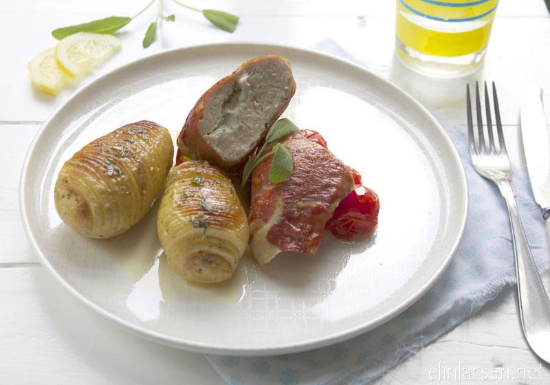 Fylt salviekylling med sprøstekt prosciutto og hasselbackpoteter