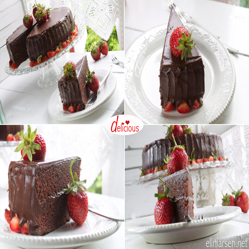 Sjokoladekake med sjokolade og nougatfyll