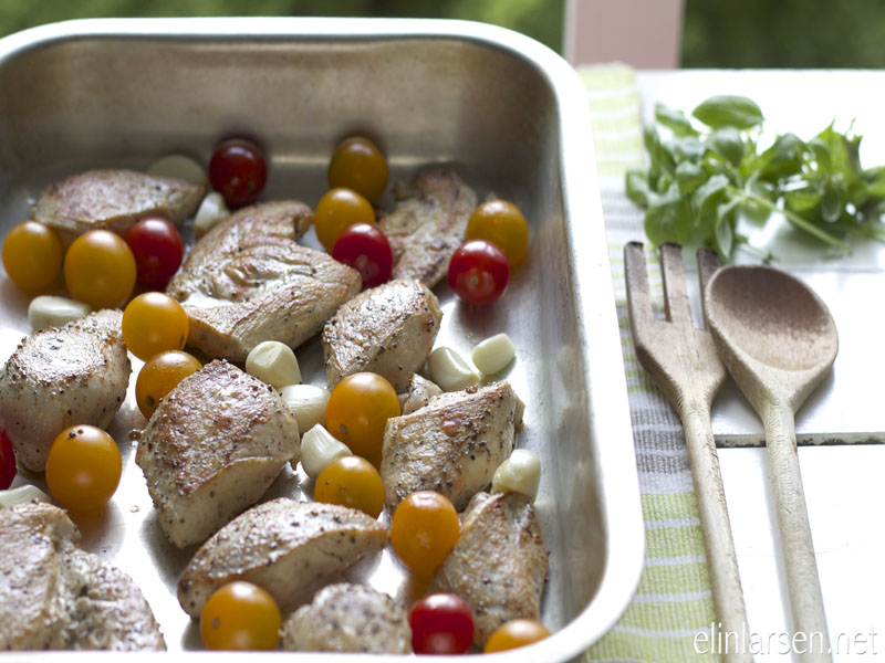 Kylling og tomater med hvitløk