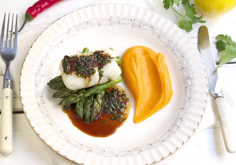 Bakt torsk med sotpotetpure og soyasmor