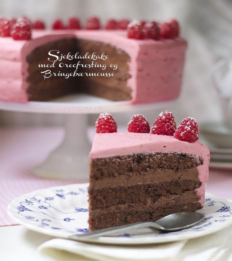 Sjokoladekake med oreofrosting og bringebaermousse