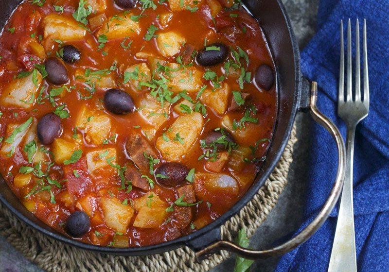 Skreigryte i tomatsaus og chorizo