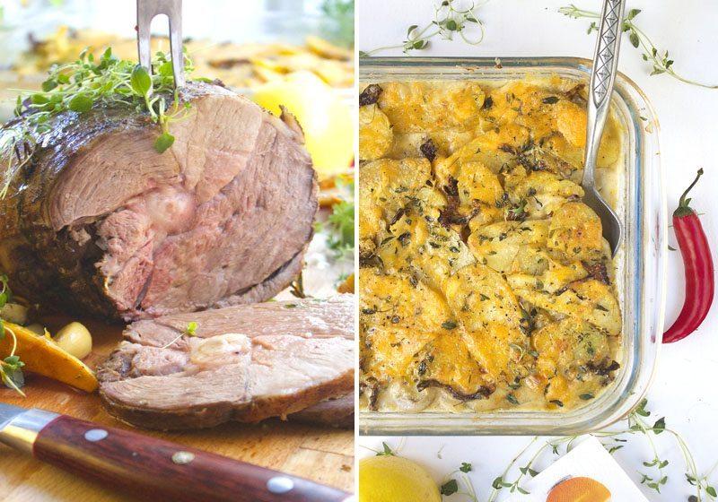 Kantarell og potetgrateng med lammestek