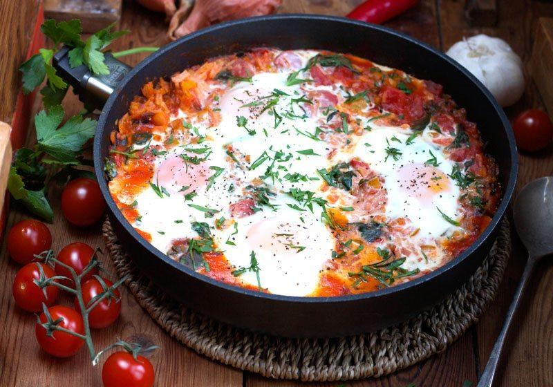 mexikansk frokost, lunsj eller middag- Huevos Rancheros