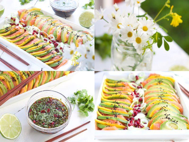 sashimi med ponzusaus og mango- avokadoskiver